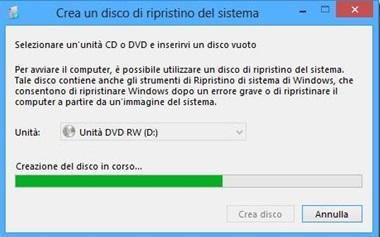 Windows 8 - Creazione Disco Ripristino