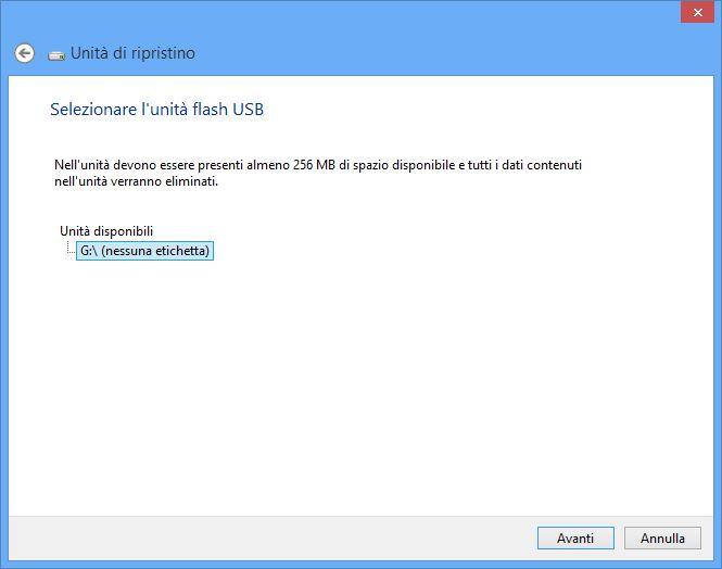 Windows 8 - Creazione disco di ripristino - USB select