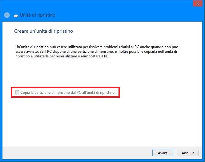 Windows 8 - Creazione disco di ripristino