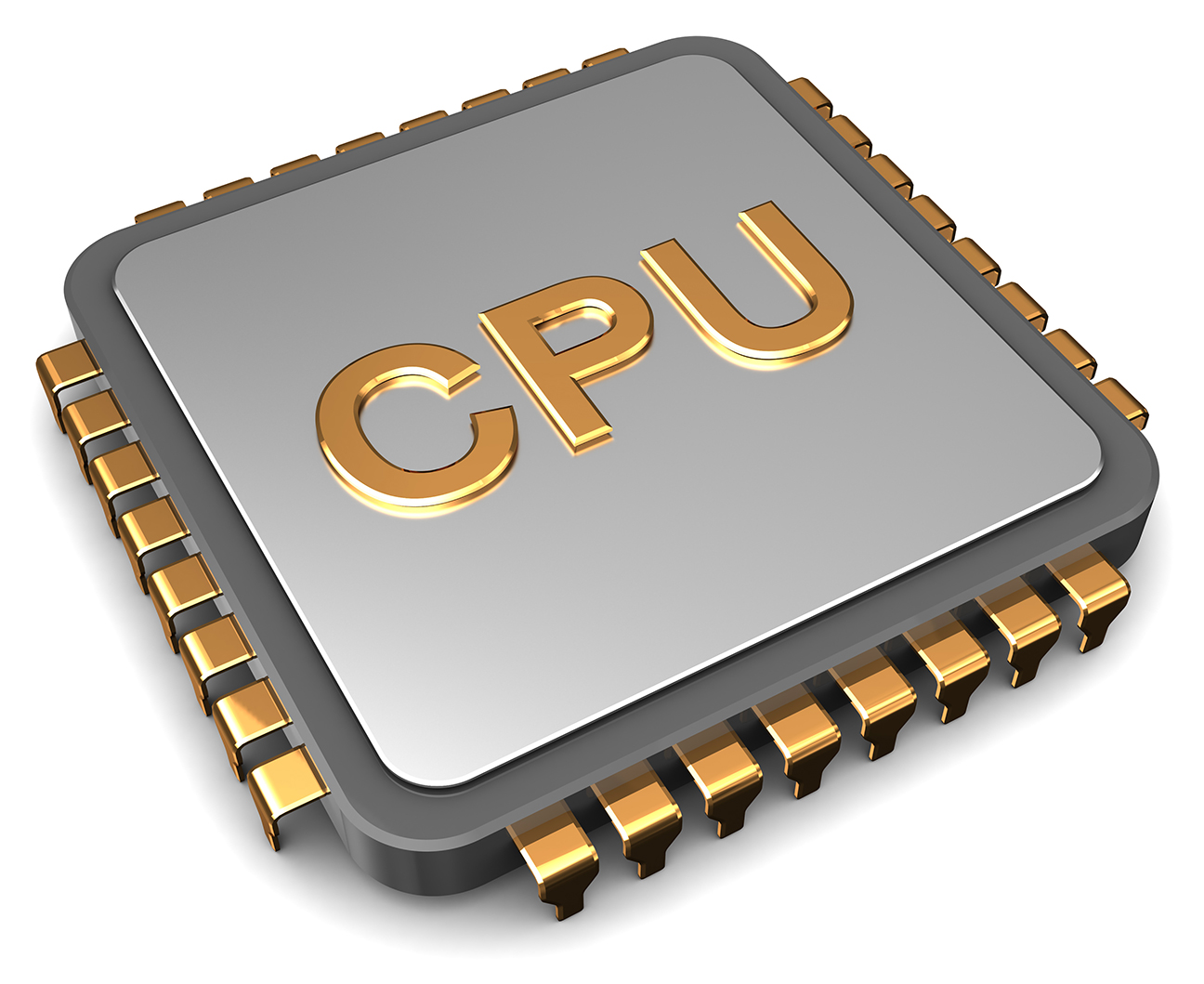 3D Illustration of CPU chip over white background