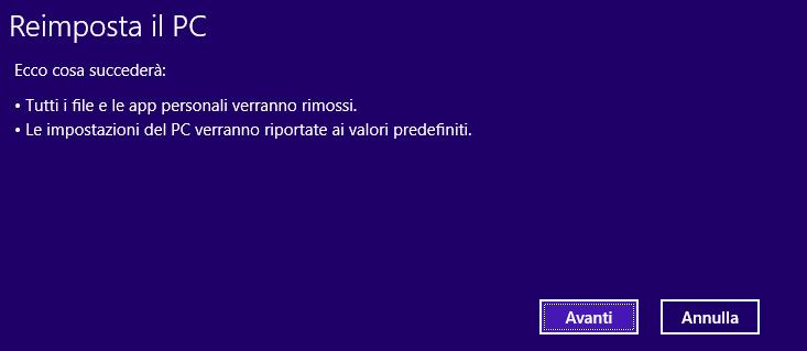 Windows 8 - Reimposta il PC