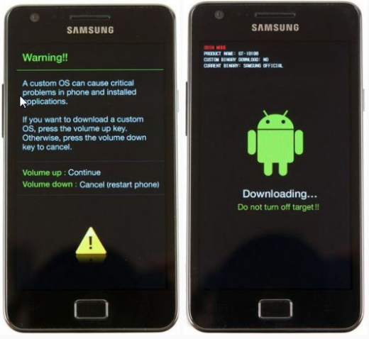 Samsung galaxy S II (GT-i9100) - Download mode