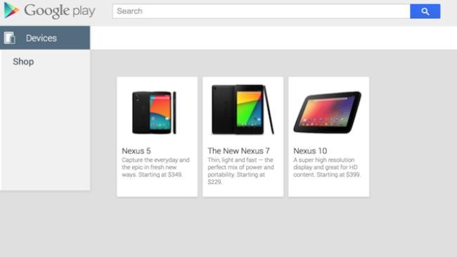 Nexus 5 on Google Play Store