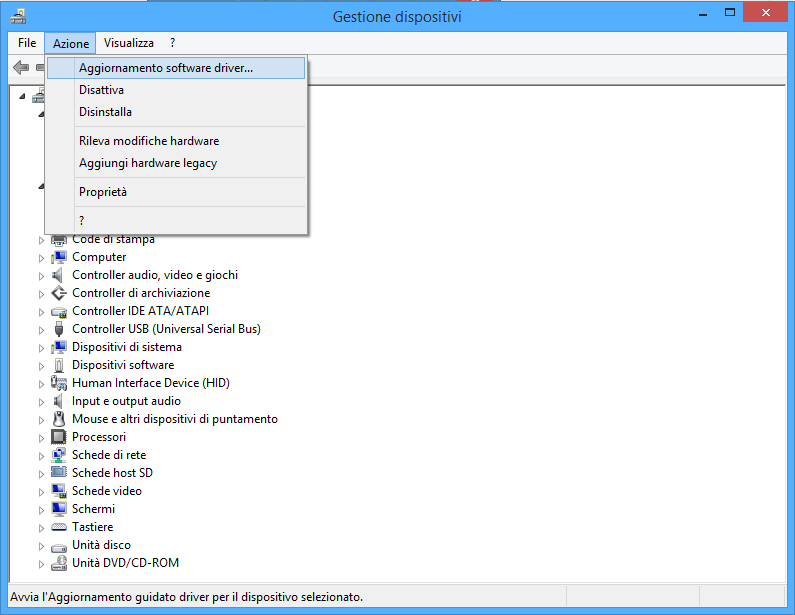 Gestione dispositivi - Aggiornamento software driver...