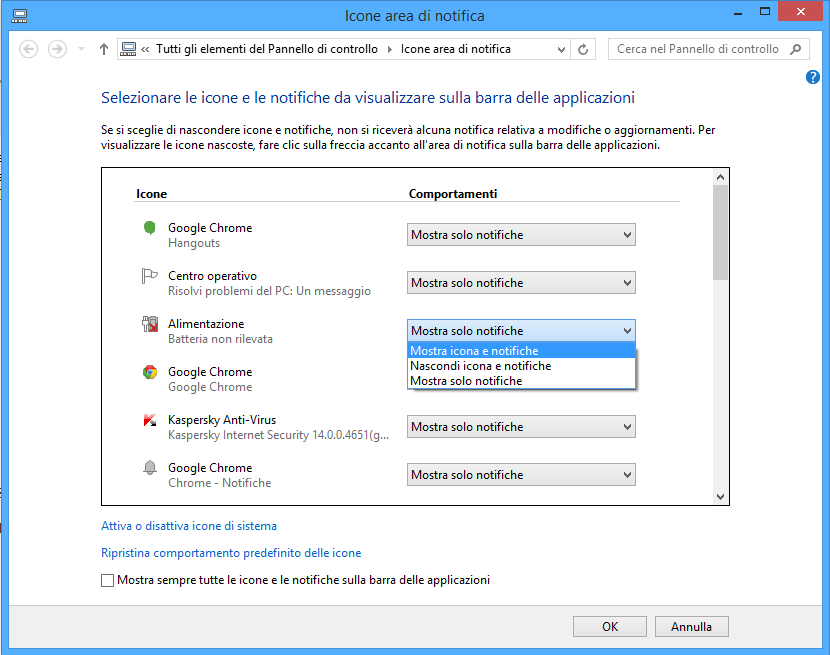 Icone area di notifica - Windows