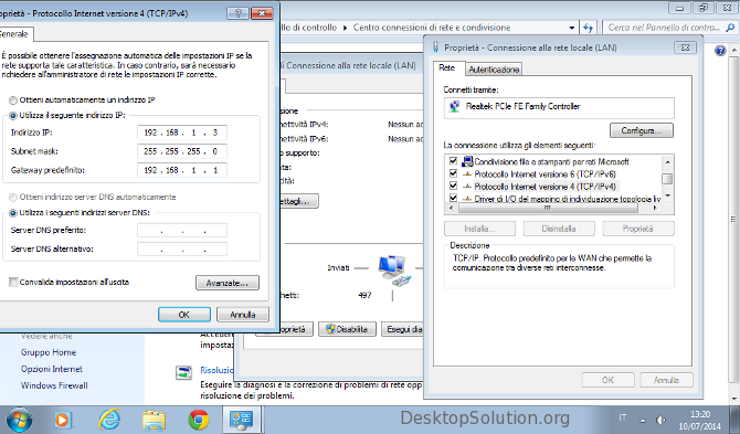 Impostazioni configurazione IP