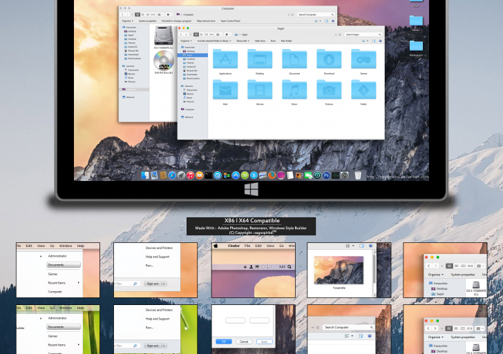 OS X Yosemite Tema per Windows 7/8.1