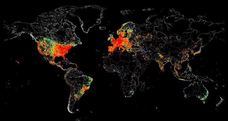 La mappa dei dispositivi connessi ad internet nel mondo
