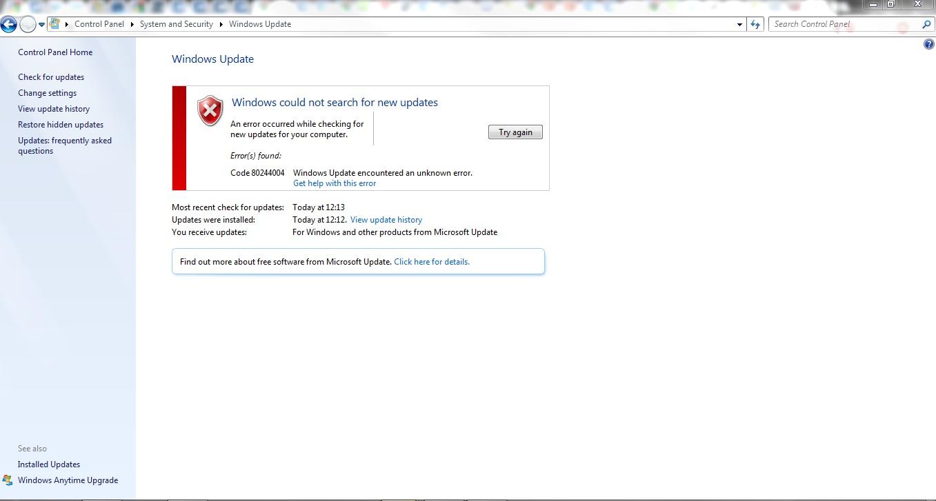 Windows update errore
