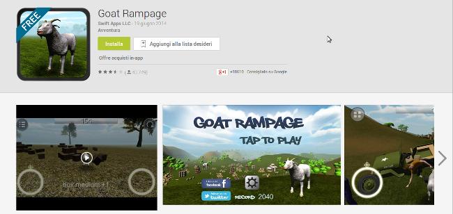 Goat Rampage: arriva un goat simulator su Android
