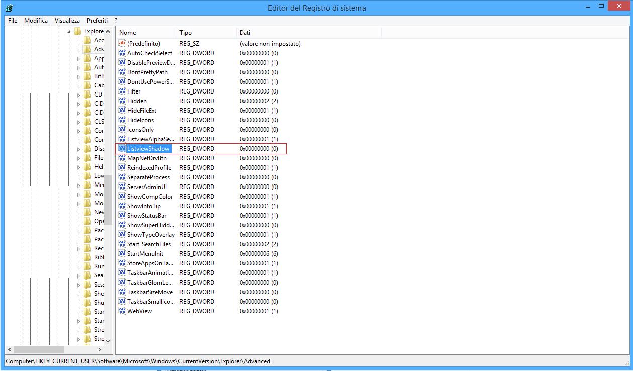 Regedit - ListviewShadow - Windows
