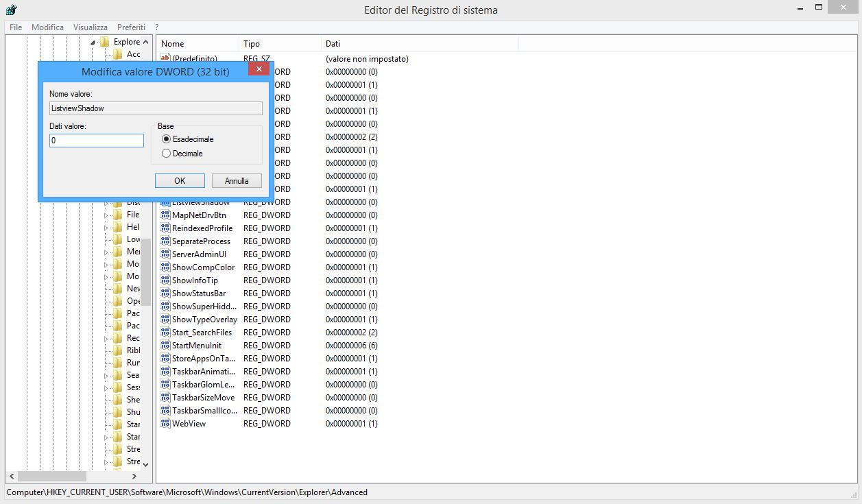Regedit - ListviewShadow - edit - Windows