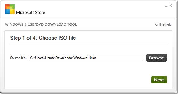 USB-DVD Download Tool - Windows 10 - 1