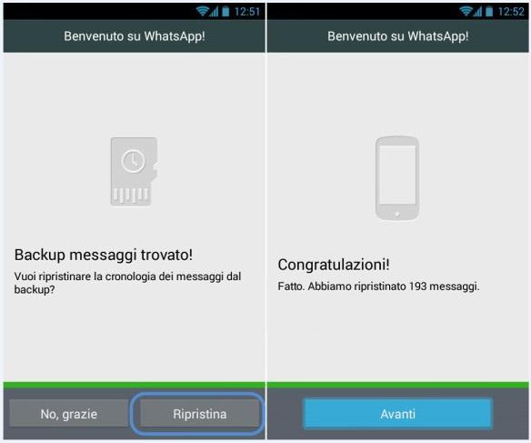 Ripristino - WhatsApp - Messaggi
