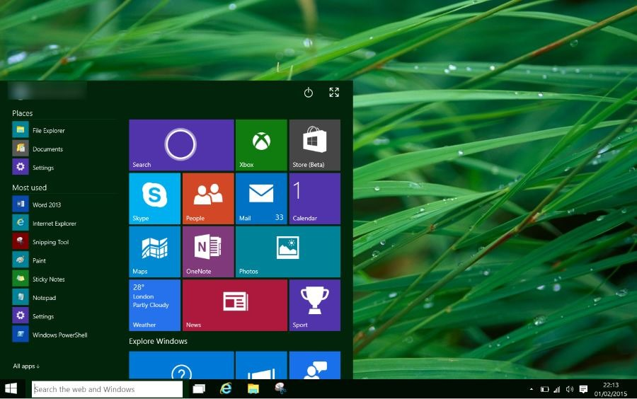 Windows 10 - Desktop senza scritte