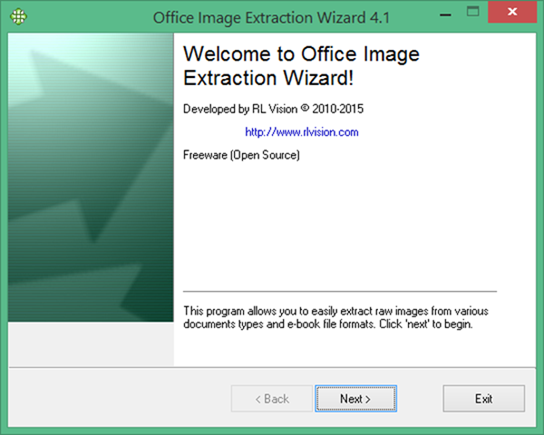 Office Image Extraction Wizard Free - 4.1 - Screen 1