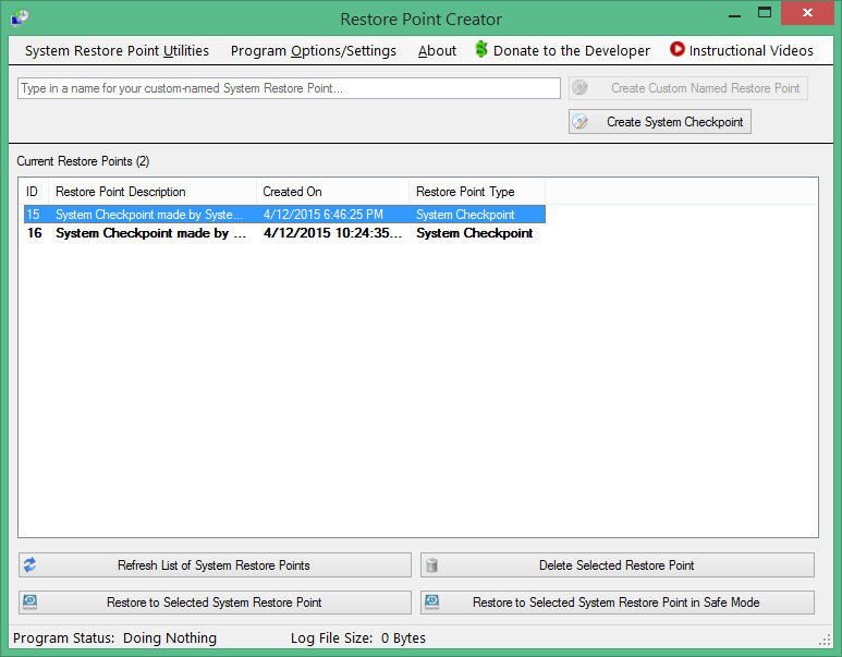 Restore Point Creator - Windows tool