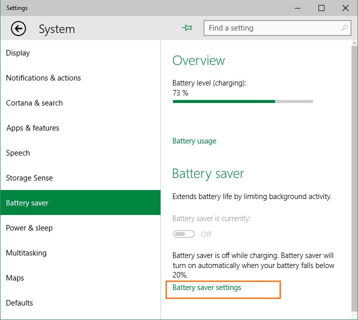 Windows 10 - Battery Saver - Impostazioni - System
