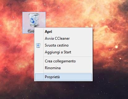 Windows 8.1 - Cestino - Proprietà