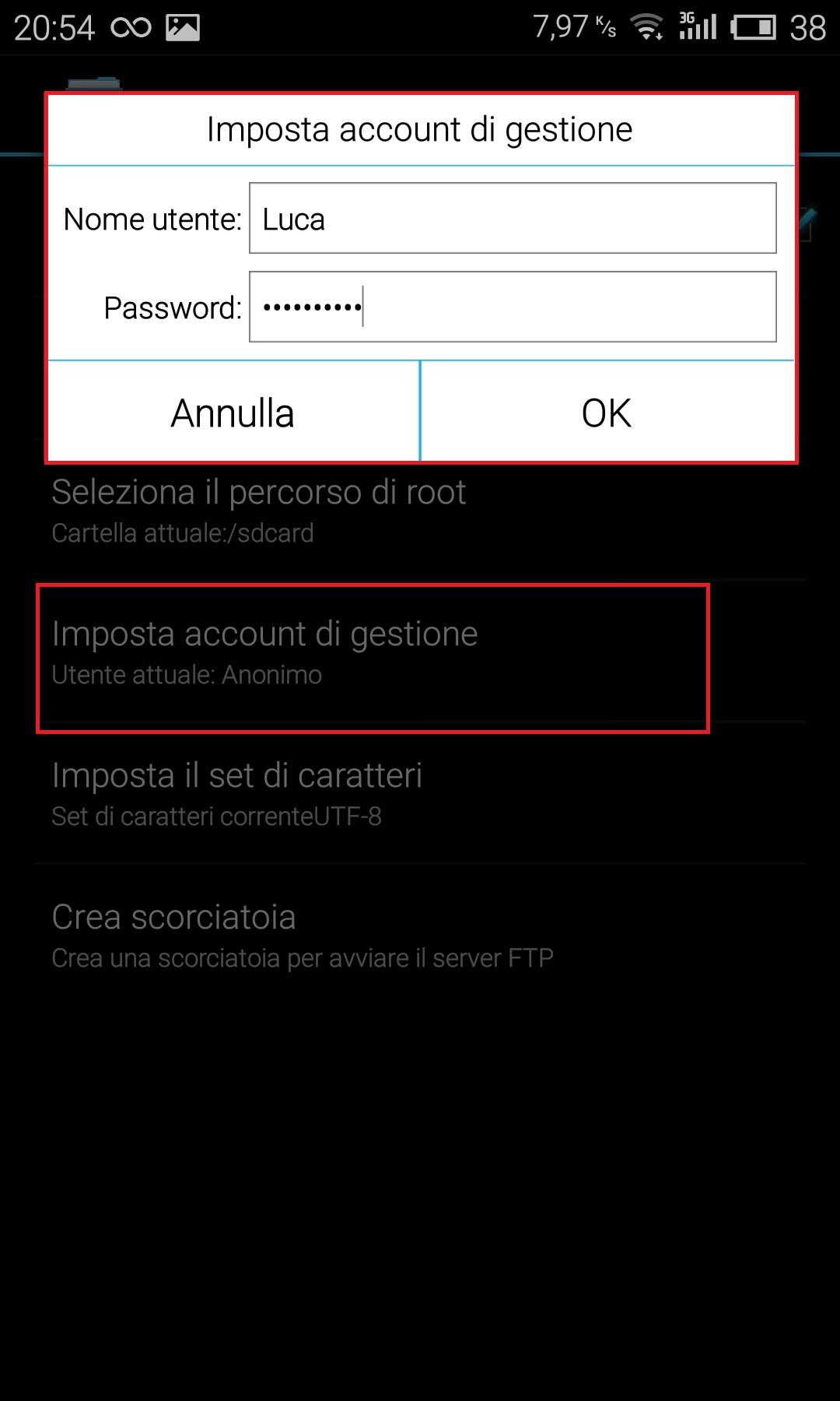 ES Gestore File - Protezione Account - rete FTP - Android