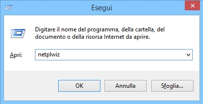 Esegui - netplwiz - Windows