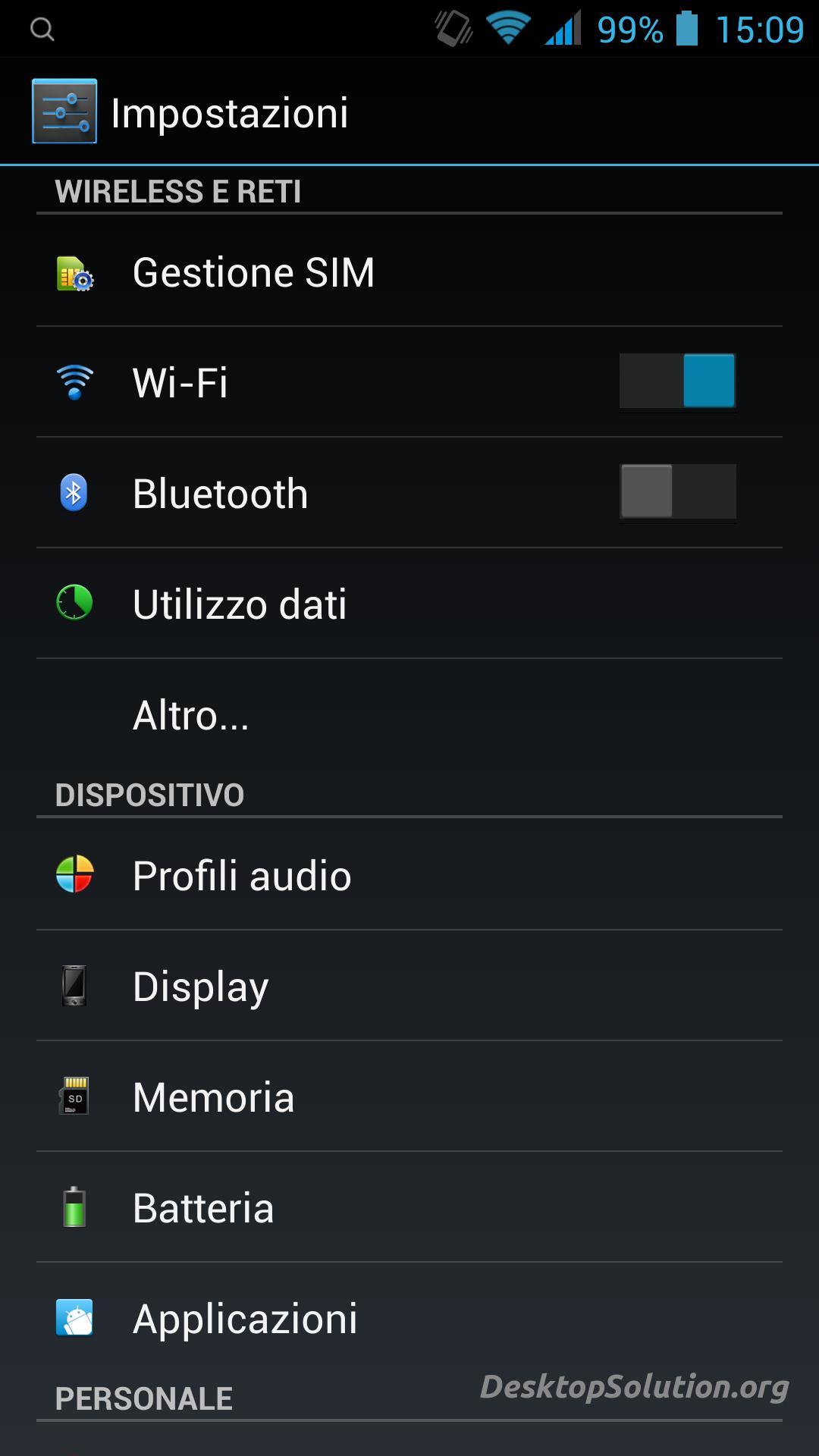 Impostazioni Android Altro