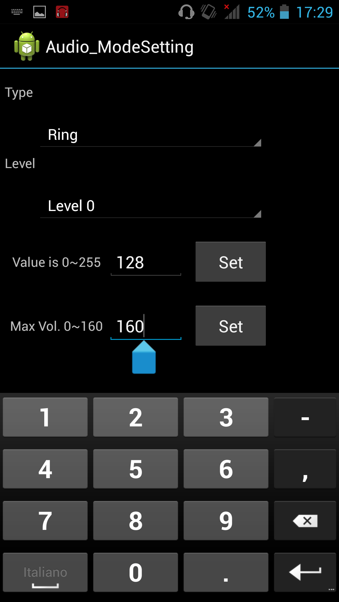 Modifica audio MTK Settings