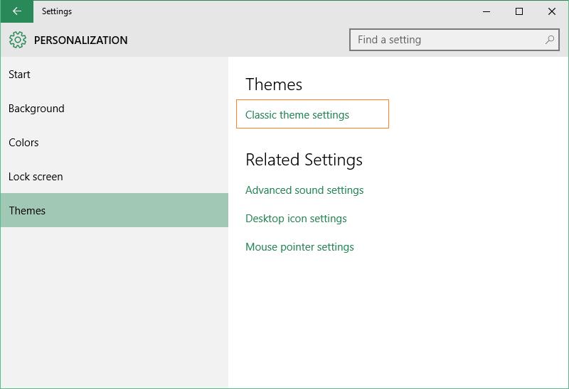 Personalizza - Finestra di Windows 10