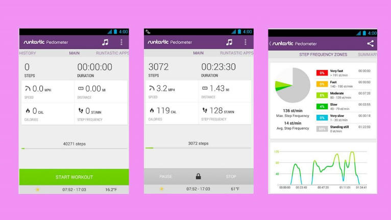 Runtastic Pedometer - Screen