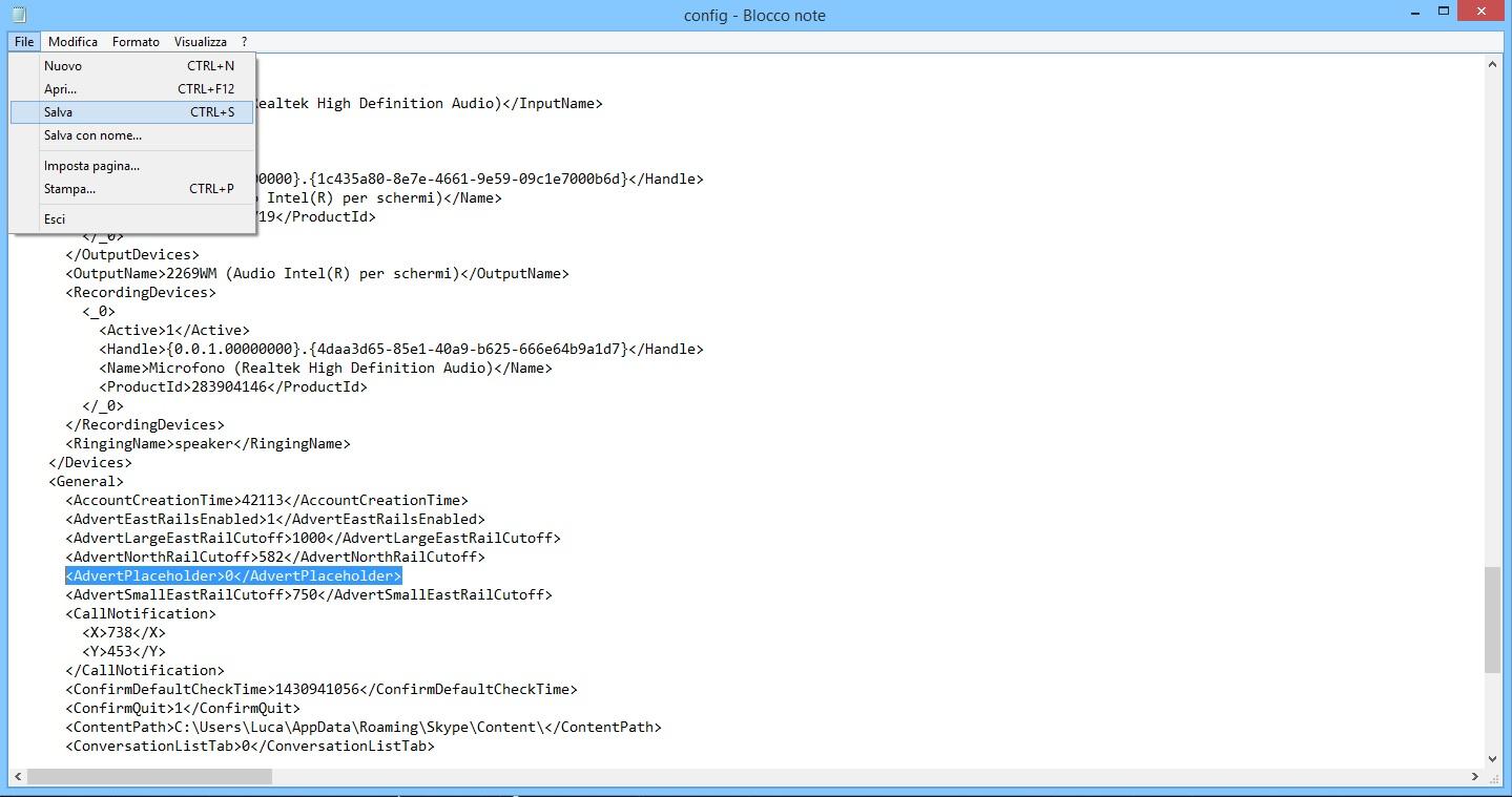 Skype - Adblock - Cong.xml file edit