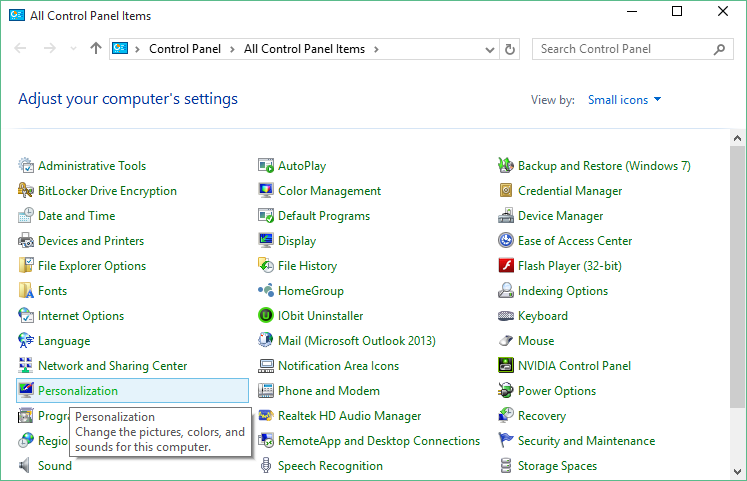 Windows 10 - Personalizzazione - Pannello di controllo