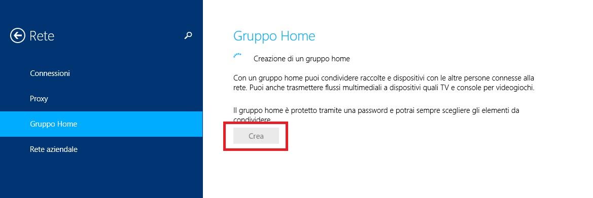 Windows 8.1 - Creazione gruppo home