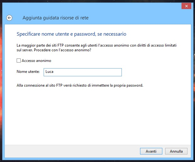 Windows - Aggiungi percorso di rete FTP - Account