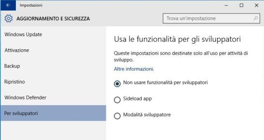 Windows 10 - Opzioni sviluppatore - .appx