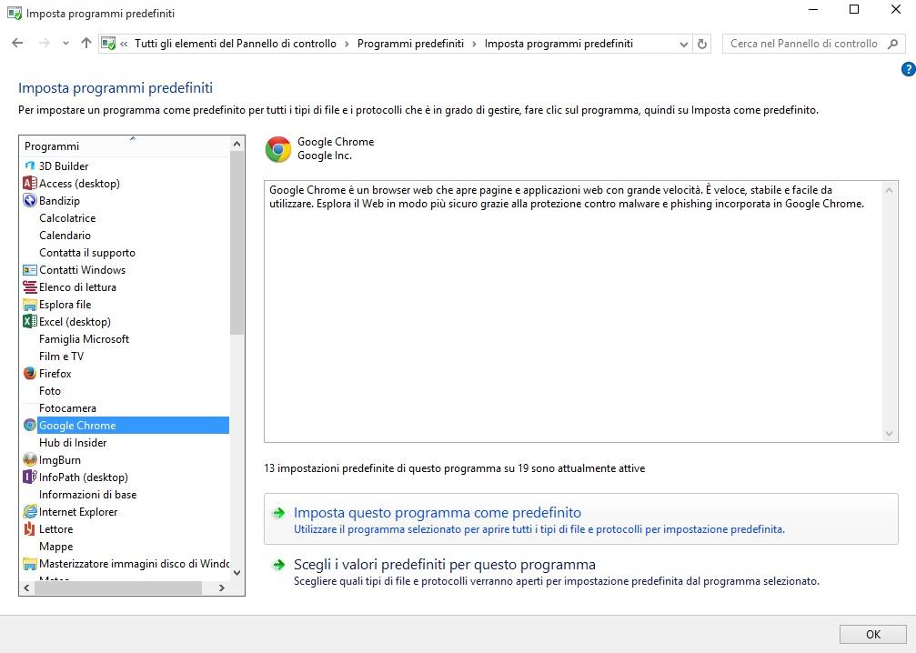 Windows 10 - app predefinite - impostazioni programmi predefiniti