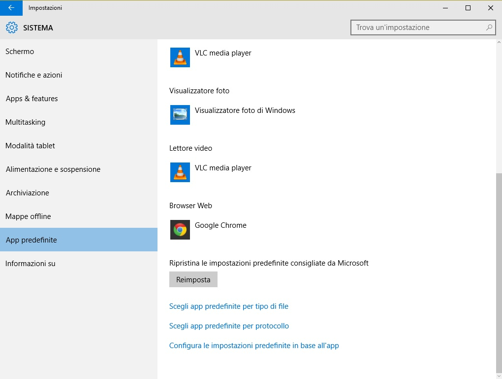 Windows 10 - app predefinite - impostazioni