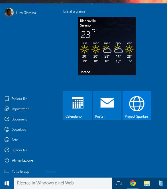 Windows 10 - menu - personalizzazione finale