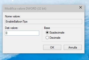 Windows - EnableBalloonTips - Value