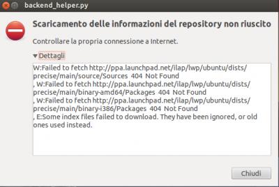 Aggiornamenti software ubuntu errore