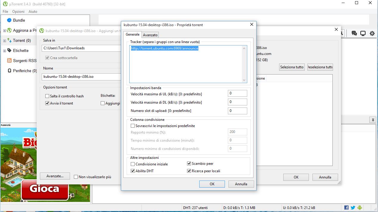 Utorrent aggiunta tracker