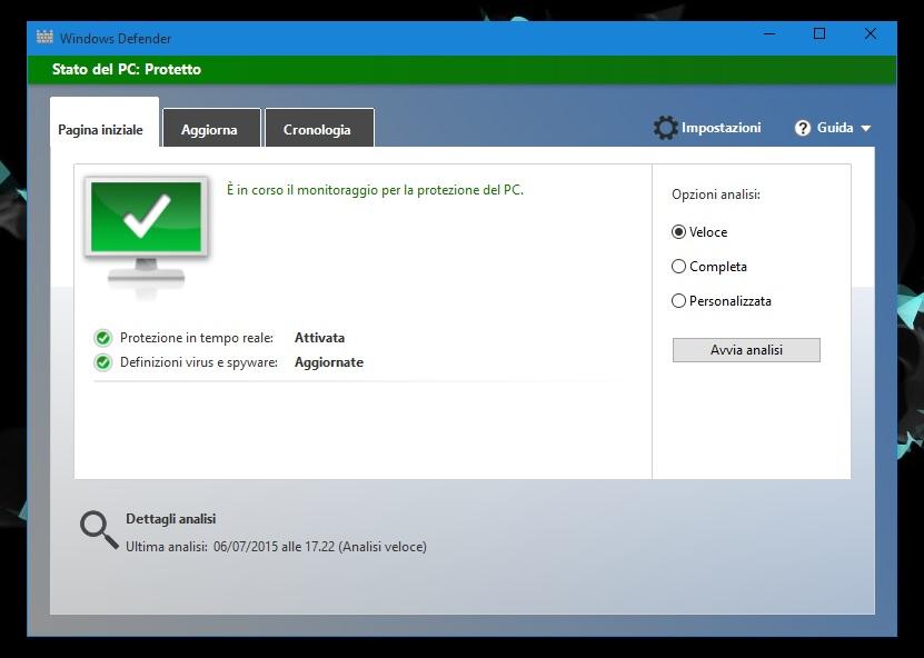 Windows 10 - Windows Defender