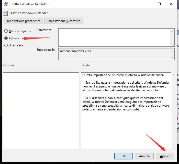 Disattiva Windows Defender