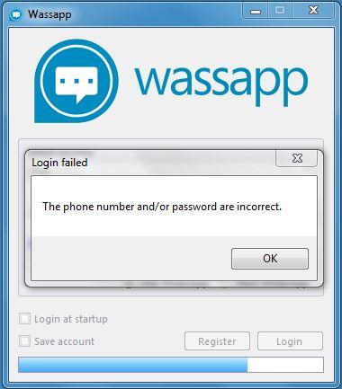 Wassap errore