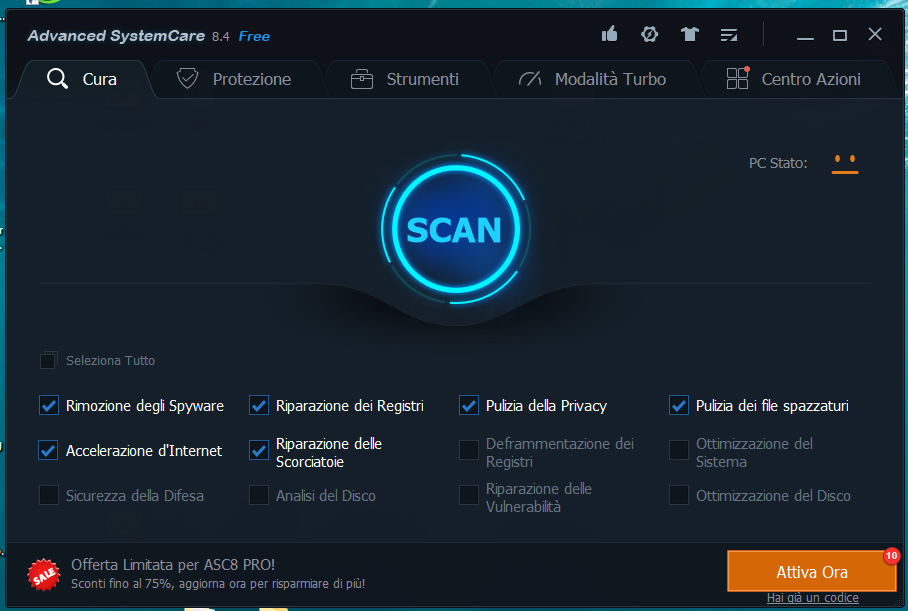 IObit Advanced SystemCare Free home 8