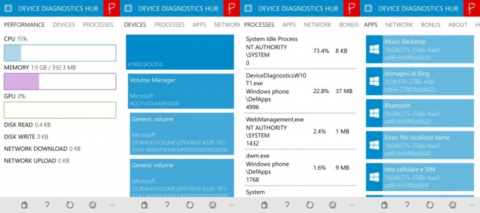 Device Diagnostics HUB - screen