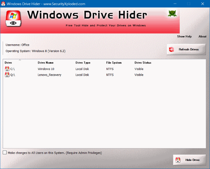 Windows Drive Hider