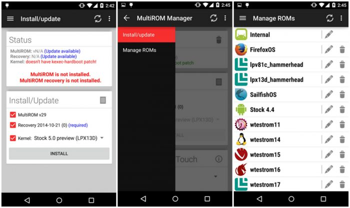 MultiRom Manager - Screen