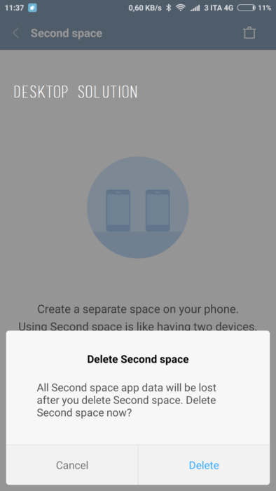 Delete Second space