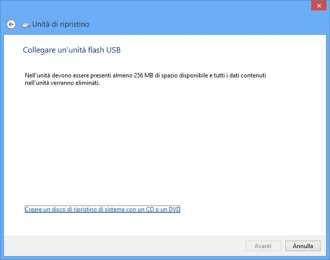 Windows 8 - Creazione disco di ripristino - USB select + Size