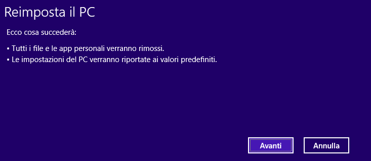 Windows 8 - Reimposta il PC